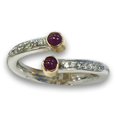 Cab Ruby and Diamond Ring, in 14k Two Tone Gold