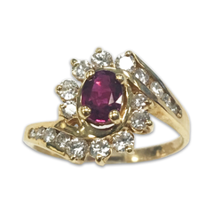 Oval Ruby and Diamond Ring, in 14k Yellow Gold