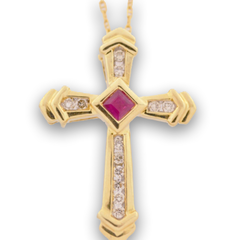 Ruby and Diamond Cross Pendant, Set in 14k Yellow Gold