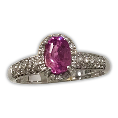 Sapphire and Diamond Halo Ring, with Oval Pink Sapphire set in 14k White Gold