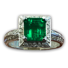 Muzo Emerald and Diamond Ring, Halo Style with Milgrain Finish Set in 14k White Gold