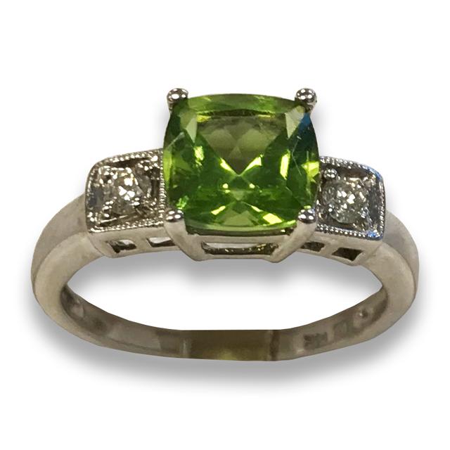 Peridot and Diamond Ring in 14k White Gold