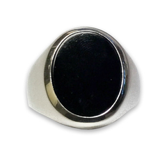 Oval Onyx Ring in 14k White Gold