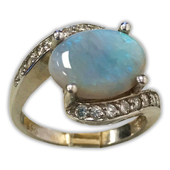 Crossover Opal and Diamond Ring, in 14k White Gold