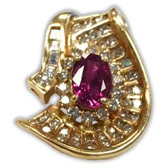 Ruby and Diamond Pendant, Set in 14k Yellow Gold
