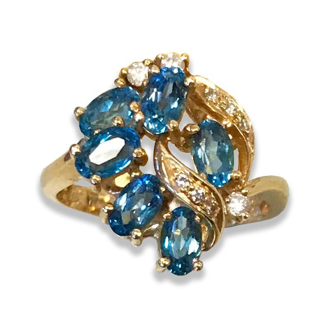 Blue Topaz Ring with Diamond Accents in 14k Yellow Gold