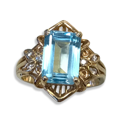 Elegant Blue Topaz Ring, w/Round Brilliant-cut Diamonds Set in 14k Yellow Gold