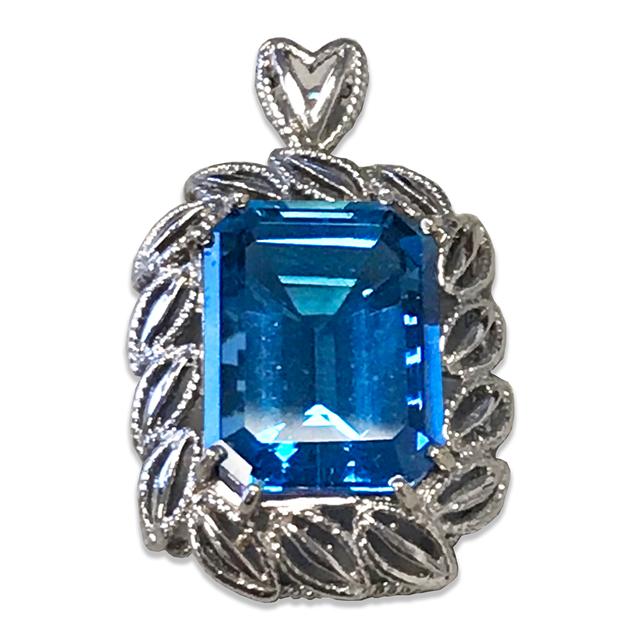 Fancy Blue Topaz Pendant, in 14k White Gold