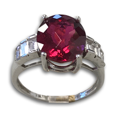 Rubellite Tourmaline and Diamond Ring, Set in 14k White Gold