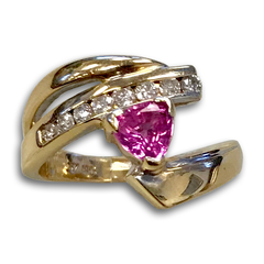 Pink Sapphire and Diamond Ring, in 14k Yellow Gold
