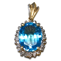 Swiss Blue Topaz and Diamond Pendant, Set in 14k Yellow Gold