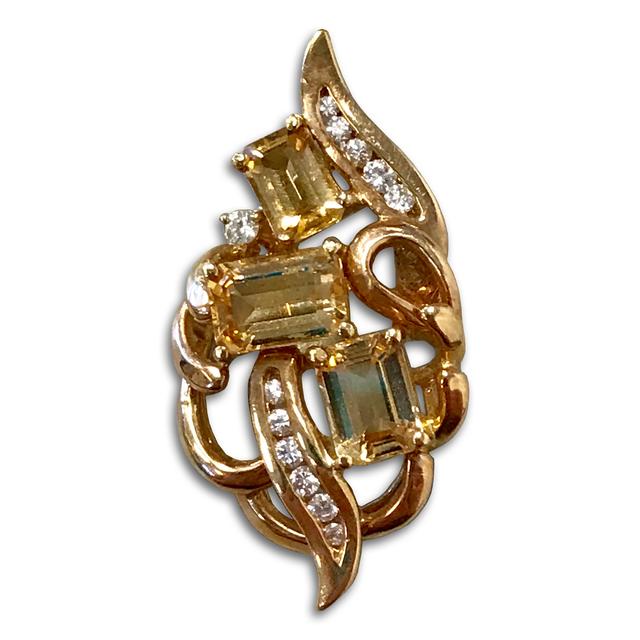 Precious Topaz and Diamond Pendant, Set in 14k Yellow Gold