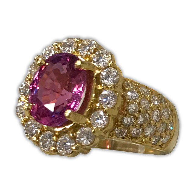 5.70ct Pink Sapphire Ring with Round Brilliant-cut Diamonds 2ct t.w. in 18k Yellow Gold