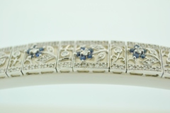 Blue Sapphire and Diamond Bracelet, in 14k White Gold