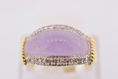 Lavender Jade and Diamond Ring, in 14k Yellow Gold