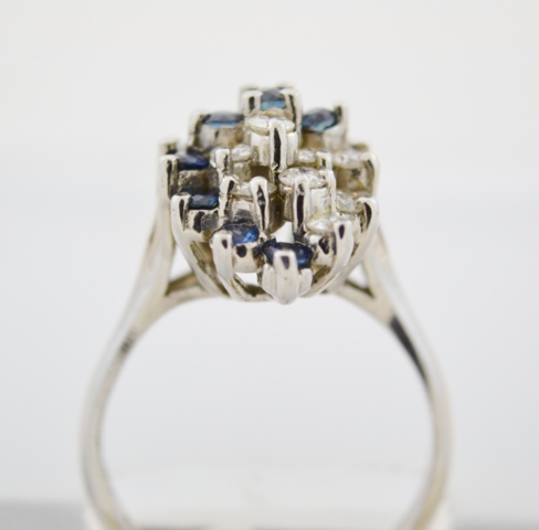 Blue Sapphire and Diamond Cluster Ring in 14k White Gold