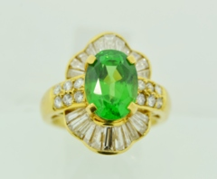 Tsavorite and Diamond Ring in 18k Yellow Gold