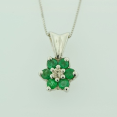 Emerald and Diamond Pendant, Set in 14k White Gold