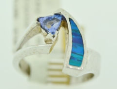 Tanzanite and Opal Ring, in 14k White Gold