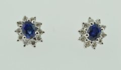 Sapphire and Diamond Earrings, in 18k White Gold