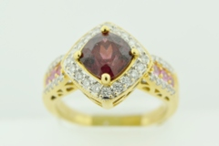 Garnet and Diamond with Sapphires in 14k Yellow Gold