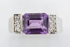 Amethyst and Diamond Ring in 14k White Gold