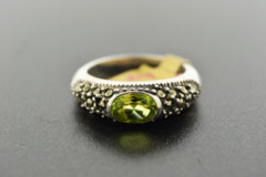 Peridot and Marcasite Ring, Set in Sterling Silver