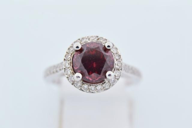 Garnet and Diamond Halo Ring, Set in 14k White Gold