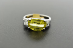 Yellow Quartz with Cubic Zirconia Ring, Set in Sterling Silver