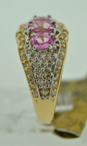 Pink Sapphire and Diamond Ring,  in 14k Two Tone Gold