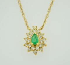 Emerald and Diamond Pendant, Set in 14k Yellow Gold