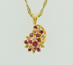 Ruby and Diamond Cluster Pendant, Set in 14k Yellow Gold