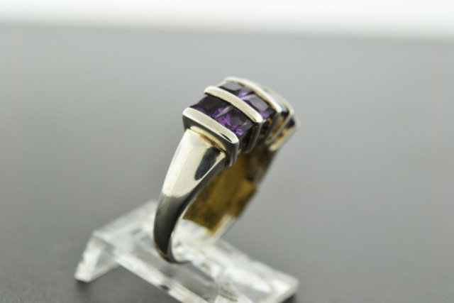 Synthetic Amethyst Ring Set in Sterling Silver