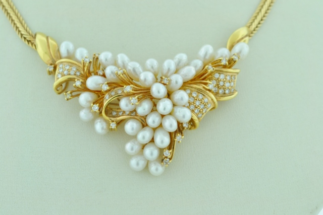 Pearl and Diamond Necklace,  in 18k Yellow Gold