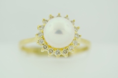 Pearl and Diamond Ring, Set in 14k Yellow Gold