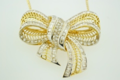 Diamond Bow Pendant, Set in 18k Two Tone Gold