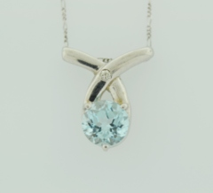 Aquamarine and Diamond Pendant, Set in 14k White Gold