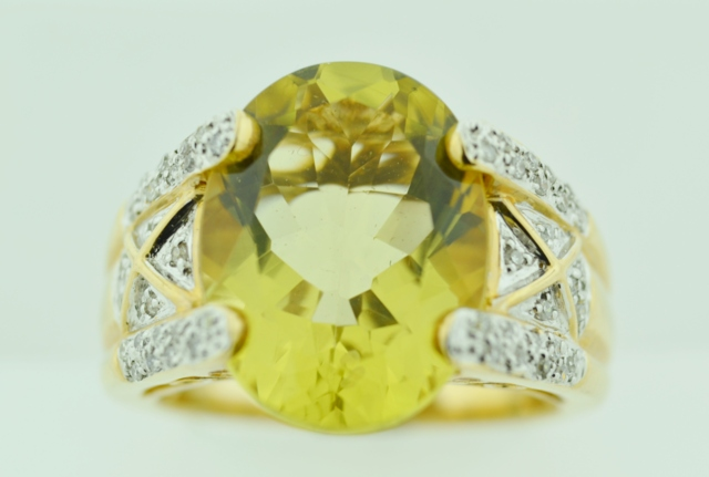Lemon Citrine and Diamond Ring, in 14k Two Tone Gold