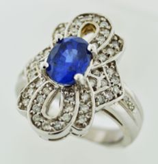 Vintage-style Sapphire and Diamond Ring Set in 14k White Gold