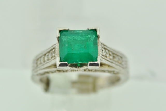 Muso Emerald and Diamond Ring, in 14k White Gold