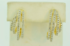 Sterling Silver Vermeil Earrings with Diamond Accent