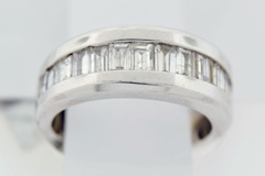 Channel Set Baguette Promotional Diamond Band in 14k White Gold