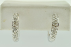 .75ct tw Pavé Diamond Hoop Earrings