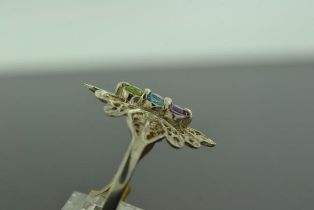 3-Stone Peridot, Blue Topaz, Amethyst Ring, Set in Sterling Silver