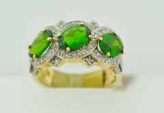 3-Stone Diopside and Diamond Ring, in 10k Yellow Gold