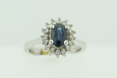 Sapphire and Diamond Ring, in 10k White Gold