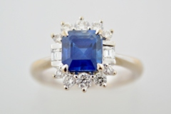 Blue Sapphire and Diamond Ring, in 18k White Gold
