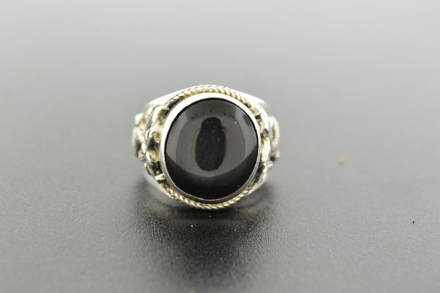 Black Onyx Dragon Ring, Set in Sterling Silver