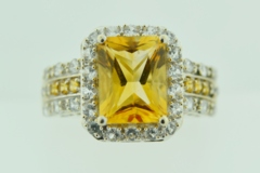Yellow Topaz and Cubic Zirconia Ring, Set in 14k White Gold