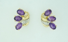 Amethyst and Diamond Studs in 14k Two Tone Gold